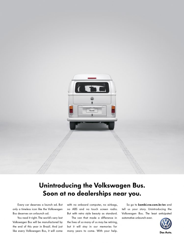 Print ad from VW unintroducing the Kombi