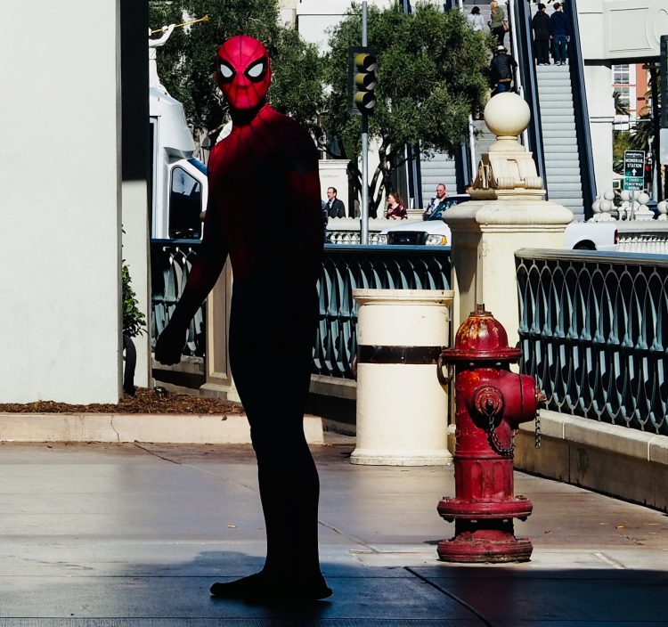 spiderman looks at the camera
