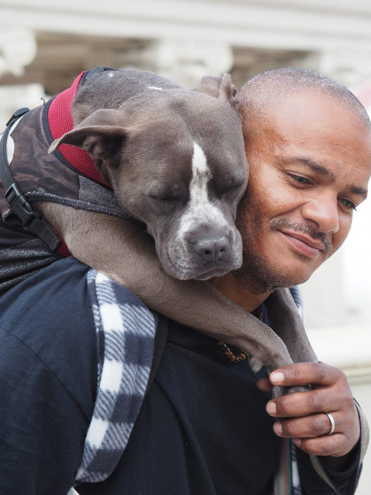 A man with his dog